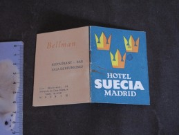 MADRID HOTEL SUECIA - CARNET DE RECEPTION POUR CHAMBRE 510 - Vieux Papiers