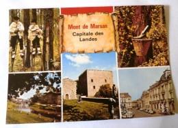 MONT DE MARSAN MULTIVUES   - HOTEL DE VILLE DONJON DE LACATAYE BORDS DE LA MIDOUZE BERGER LANDAIS POT DE RESINE - Mont De Marsan