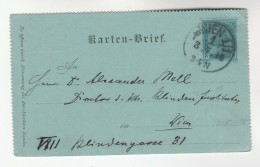 1896 Wien AUSTRIA Postal STATIONERY LETTERCARD Cover Stamps - Stamped Stationery