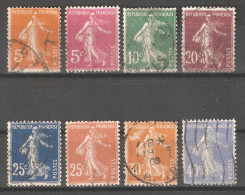 France 1906-38 Sower Types,Lot Of 8,Sc 160//179,USED (A-36) - 1906-38 Semeuse Camée