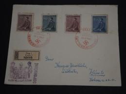 BOHÊME ET MORAVIE  - Enveloppe En Recommandée De Praha Pour Zlin En 1942 - A Voir - L 1330 - Bohême & Moravie