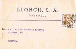 19010. Tarjeta Privada Comercial SABADELL (barcelona) 1958