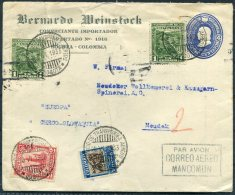 1933 Colombia Bernardo Weinstock Private Stationery Cover Uprated SCADTA Airmail Bogota / Barranquilla - Czechoslovakia - Colombia