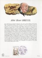 """FRANCE 1977 : Encart Philatélique 1er Jour """" ABBE HENRI BREUIL """" N° YT 1954"""