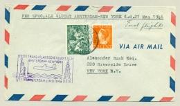 Nederland - 1946 - 2,5c Nationale Hulp Met 50c Konijnenburg Op 1e Vlucht Naar New York - 1891-1948 (Wilhelmine)