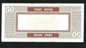 "Test Note ""PERTO A"" Testnote, 50 UNITS, Beids. Druck, RRR, Used, 140 X 66 Mm - Stati Uniti"