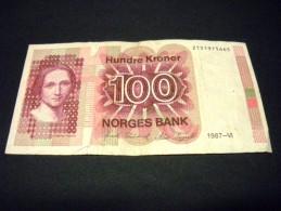 NORVEGE 100 Kroner 1987,1983-1994,pick N° 43 C, NORWAY - Norvegia