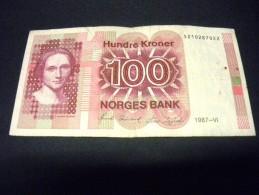 NORVEGE 100 Kroner 1987,1983-1994,pick N° 43 C, NORWAY - Noruega