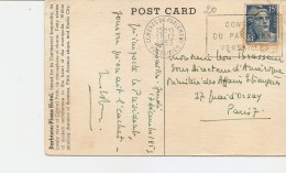 S-CARD BARBIZON -PLAZA-NEW YORK-AL RETRO ANNULLI CONGRES DU PARLAMENT VERSAILLES 1953 - Errors & Oddities