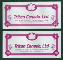 "Test Note ""TRITON CANADA"" Testnote, Typ C, 20 Units,, Pink, Beids. Druck, Sample, RRR, UNC - USA"