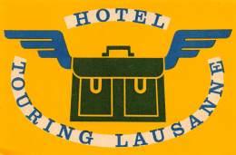 "06192 ""SVIZZERA - LAUSANNE - HOTEL TOURING"" ETICHETTA ORIGINALE - Hotel Labels"
