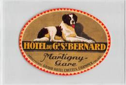 "06194 ""SVIZZERA - MARTIGNY GARE - HÔTEL DU GRAND ST. BERNARD"" ETICHETTA ORIGINALE - Hotel Labels"