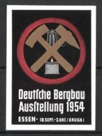 Vignette Publicitaire Essen, Deutsche Bergbau Exposition 1954, Zunftwappen Der Bergleute Avec Grubenlampe - Erinnophilie