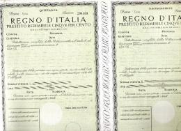 REGNO D'ITALIA PRESTITO REDIMIBILE CINQUE PER CENTO - Azioni & Titoli
