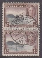 Nyasaland: George VI, 1945, 1/2d Pair, ZOMBA  16 JUN 52,  C.d.s., Used - Nyassaland (1907-1953)