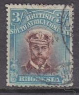 Southern Rhodesia: B.S.A.Co. 1913 George V, Admiral, 3/= Chocolate & Blue, Die II, Perf 15.used - Southern Rhodesia (...-1964)