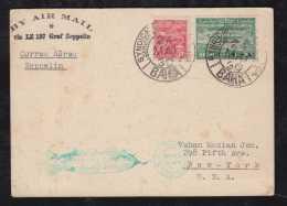Brasil Brazil 1930 Zeppelin Mi# 4 Postcard BAHIA To USA - Airmail (Private Companies)