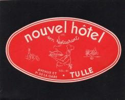 VIEILLE ETIQUETTE AUTOCOLLANTE NOUVEL HOTEL AVENUE DE LA GARE A TULLE FRANCE VINTAGE LUGGAGE LABEL - Etiquettes D'hotels