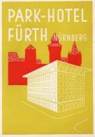 VIEILLE ETIQUETTE AUTOCOLLANTE PARK HOTEL FURTH NURNBERG ALLEMAGNE VINTAGE LUGGAGE LABEL - Hotel Labels