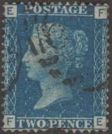 GB 1858 Y&T 27 SG 47 Michel 17. Victoria 2 P. Bleu, Filigrane Grande Couronne. Planche 14. Lettres EF - 1840-1901 (Viktoria)