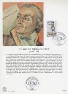 """FRANCE 1989 : Encart Philatélique 1er Jour """" PERSONNAGES DE LA REVOLUTION : CAMILLE DESMOULINS """" N°YT 2594. Parf. état. - Révolution Française"""