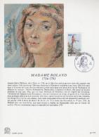 """FRANCE 1989 : Encart Philatélique 1er Jour """" PERSONNAGES DE LA REVOLUTION : MADAME ROLAND """" N° YT 2593. Parf. état. - Révolution Française"""