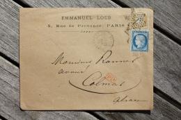 Enveloppe Affranchie N°59 15c Bistre + N°60 25c Bleu Pour Colmar Oblitération Paris étoile 1 Place De La Bourse - Marcophilie (Lettres)