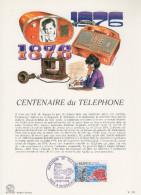 """FRANCE 1976 : Encart Philatélique 1er Jour """" 100 ANS DU TELEPHONE """" N° YT 1905. Parfait état. - Telecom"""