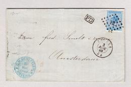 Belgien Anvers 3.11.1868 Briefhülle Nach Amsterdam Mit 20c Mi#15 - 1865-1866 Profile Left