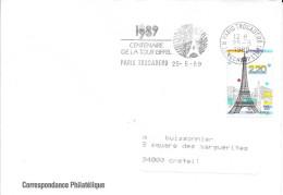 SEINE 75 - PARIS ELYSEES 16 -  FLAMME 1989 CENTENAIRE TOUR EIFFEL PARIS CHAMPS ELYSEES  - TP 2581=FLAMME - Mechanical Postmarks (Advertisement)