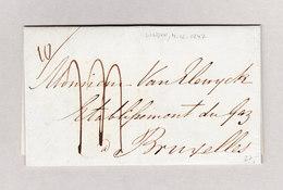 Belgien 1847 Bruxelles 6.12 Blau Und Angleterre Par Ostende Rot Auf Brief Aus London GB - Belgien