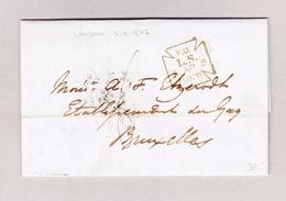 Belgien Bruxelles 6.4.1856 Ankunfts-Stempel Vorphila Brief Aus London - Belgien
