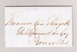 Belgien Bruxelles 4.7.1847 Ankunfts-Stempel Blau  Brief Ohne Marke Aus London - Ohne Zuordnung