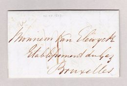 Belgien Bruxelles 4.7.1847 Ankunfts-Stempel Blau  Brief Ohne Marke Aus London - Belgien