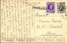 "N° 198-280 Obl. MONS + GRIFFE THUILLIES S/CP PUBLICITAIRE ""CHOCOLAT VICTORIA"". TB - Langstempel"
