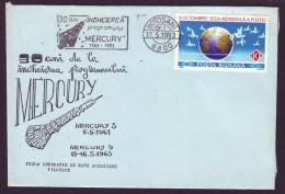 1993 Romania, Mercury Space Program 30 Years, Commemorative Aerophilately Cover With Special Cancel - 1948-.... Republiken