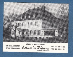 Carte Ancienne - STRASBOURG - Hotel Restaurant Ecluse Du Rhin - 50 Quai Jacoutot - Strasbourg