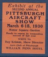 Etats Unis - Vignette Aircraft Show Pittsburgh 1930 - Neuf * - TB - Cinderellas