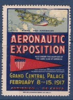Etats Unis - Vignette Aeronautix Exposition New York 1917 - Neuf * - TB - Cinderellas