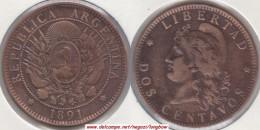Argentina 2 Centavos 1891 KM#33 - Used - Argentina