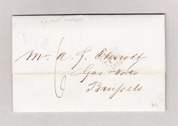 GB London 7.2.1855 Brief Ohne Marke Nach Bruxelles Mit Ankunft Und Transit Stempel - 1840-1901 (Victoria)