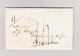 GB London 17.5.1851 Brief Ohne Marke Nach Bruxelles Mit Ankunft Und Transit Stempel - 1840-1901 (Victoria)