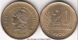 Argentina 20 Centavos 1970 KM#67 - Used - Argentina