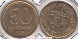 Argentina 50 Centavos 1993 (Bold Lettering) KM#111.2 - Used - Argentina