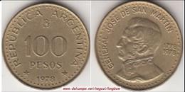 Argentina 100 Pesos 1978 200th Anniversary Birth Of Jose De San Martin KM#82 - Used - Argentina