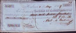 E366 CUBA SPAIN BANK BILL OF EXCHANGE 1859 SOC CREDIT ESPAÑA - Bills Of Exchange