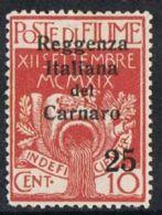 Fiume SG155 1920 Definitive 25 On 10c Mounted Mint - 9. WW II Occupation (Italian)