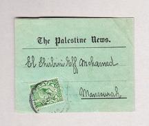"""GB - 1918 Zeitungs-Streifband Palestine News Von England Nach Mansourah Ägypten Rückseite Stempel """"non Réclamé 1.8.18."""" - Lettres & Documents"""