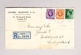 GB - LONDON  22.1.1937 R-Brief Nach Zürich Mit 2 Könige Frankatur - 1902-1951 (Rois)