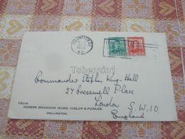 Wellington Messrs Brandon Ward Hislop & Powles New Zealand To Commander STEPHEN KING-HALL London England Kuvert Enve - New Zealand